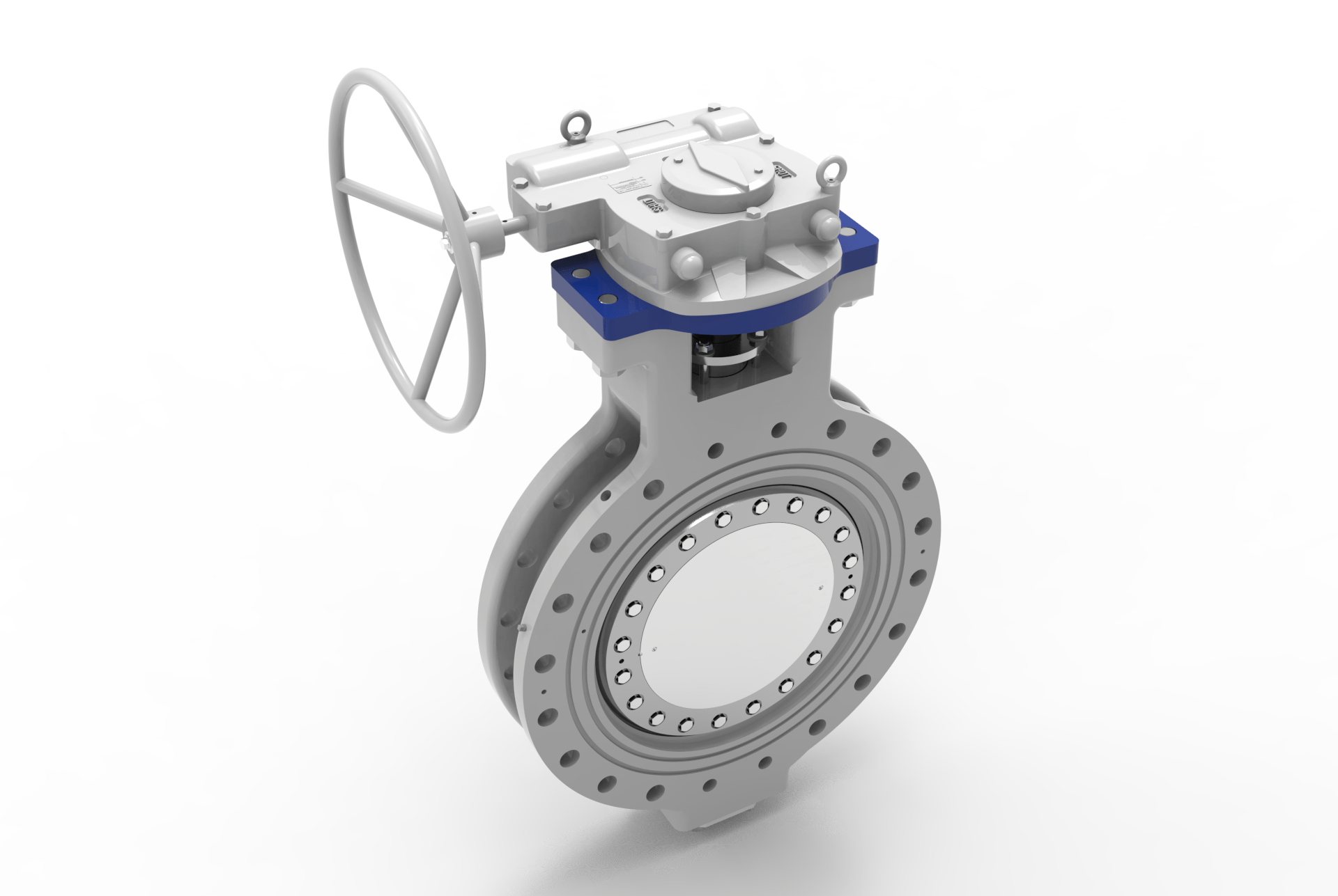 TRICENTRIC® TRIPLE OFFSET BUTTERFLY VALVES left angled front view